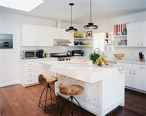 white kitchen island with stools white marble island with wooden bar stools decoist