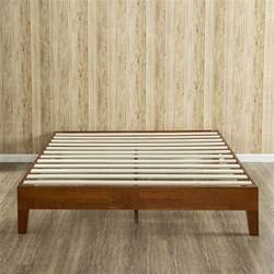 Platform Bed Hardwood Cherry Finish Deluxe Solid Wood Platform Bed Zinus