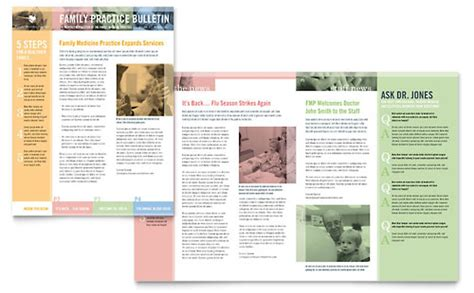 microsoft newsletter layout templates medical health care newsletter templates word