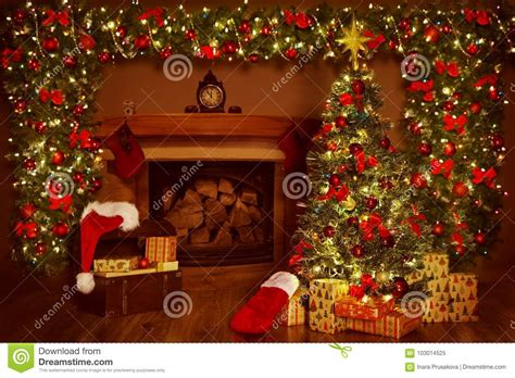 christmas fireplace and xmas tree presents gifts