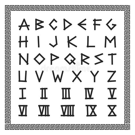 lettere alfabeto antiche fonte greca alfabeto inglese di vettore lettere latine