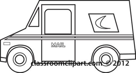coloring pages mail truck transportation postal truck outline classroom clipart