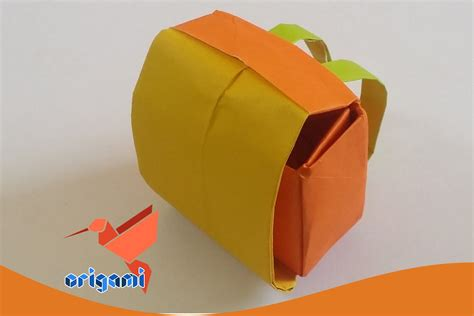 Origami Suitcase - origami school bag backpack easy