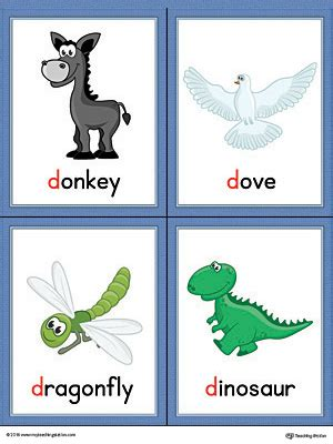 printable dinosaur alphabet flash cards letter d words and pictures printable cards donkey dove
