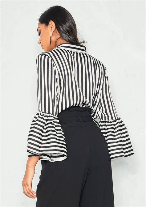 Bell Sleeve Striped Shirt caggie black stripe bell sleeve shirt empire