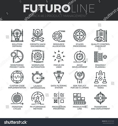 production symbols modern thin line icons set production stock vector