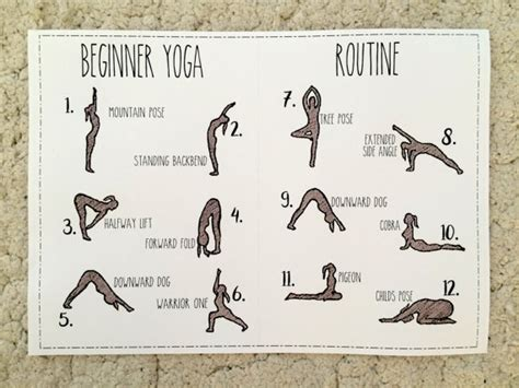 printable yoga journal beginner yoga routine printable for a5 notebooks and