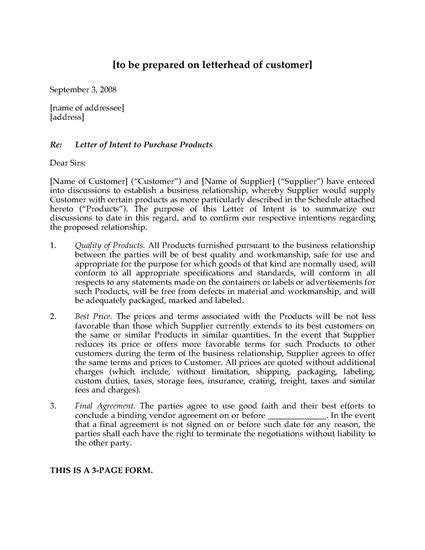Letter Of Intent York Letter Of Intent To Purchase Products Forms And Business Templates Megadox