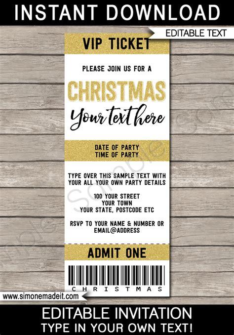 printable editable tickets printable christmas party ticket invitations christmas