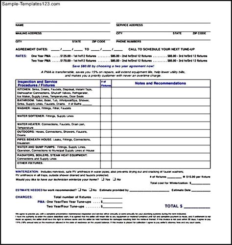 plumbing maintenance invoice template sle templates