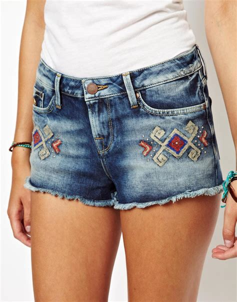Embroidered Denim Shorts happy socks pepe embroidered denim shorts in blue