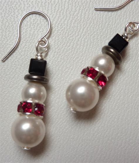 cute snowman earrings in swarovski pearl and crystal weirdly