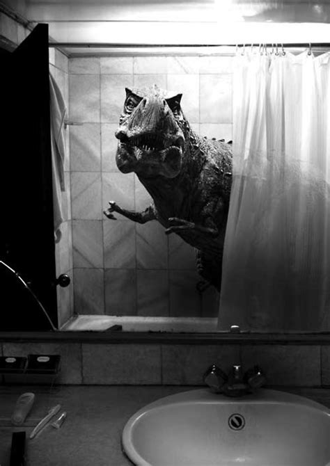 t rex bathroom bathroom black and white photography dinosaur film
