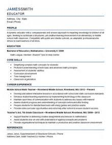 Resume Exles For Secondary Teachers Middle School Resume Exle Mathematics