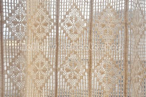 crochet curtain panels french country cotton thread crochet lace curtain panel