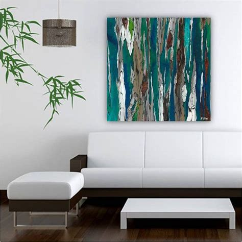 large blue teal canvas print wall abstract