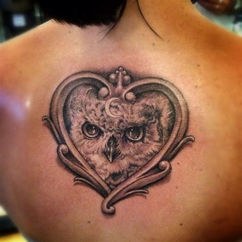 tattoo owl heart owl with a heart frame tattoo tattoo ideas pinterest