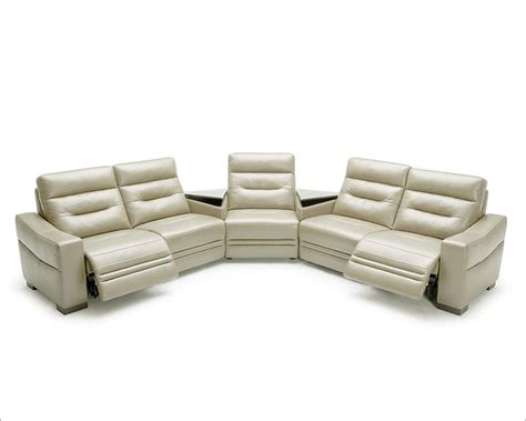 Modern Leather Reclining Sofa Modern Grey Leather Sectional Sofa W Recliners And Consoles 44l5992