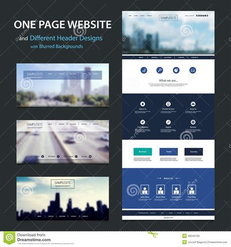 web layout modern one page website template and different header designs