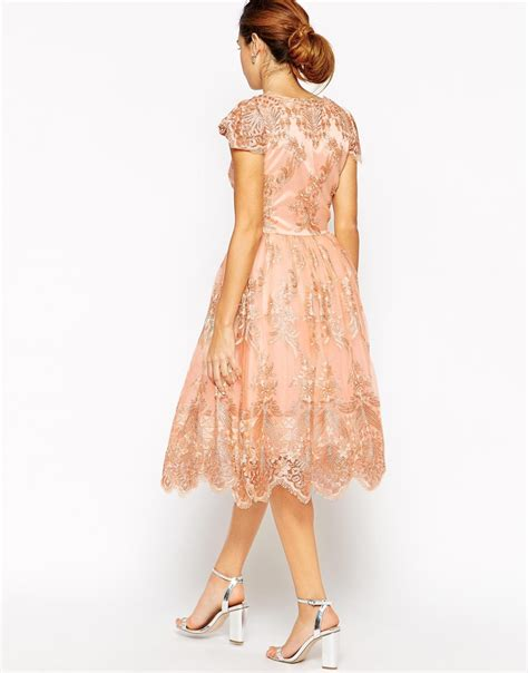 Dress Ola Midi Jersey Premium chi chi wrap front midi prom dress in premium metallic lace in pink lyst