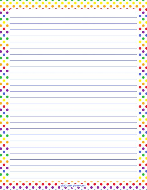 rainbow writing paper printable rainbow polka dot stationery
