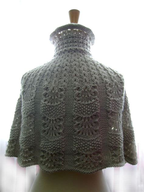 knitted light shade knitted capelet cape poncho in a shade of light linen