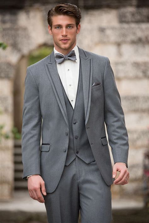 2015 Classic Gray Groom Suit For Wedding Two Buttons