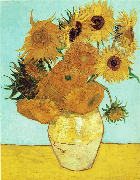 still vase with twelve sunflowers post