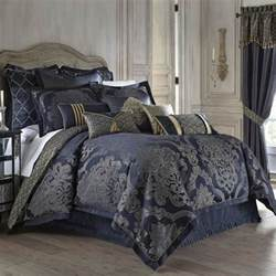 waterford vaughn comforter set queen blue gold damask
