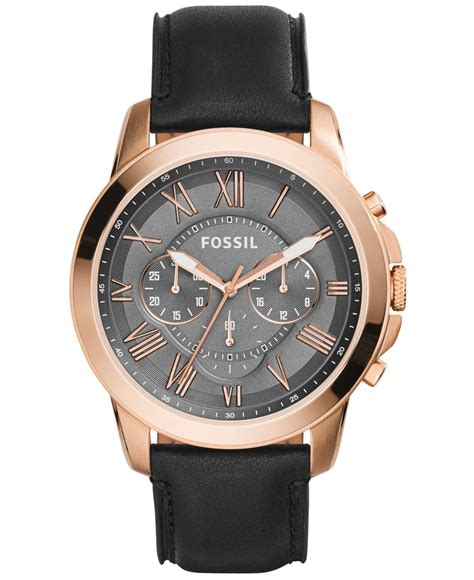 Fossil Kulit Black Limited lyst fossil s chronograph grant black leather
