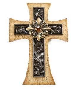 Cross Home Decor Fleur De Lis Cross Christian Wall Decor Religious Plaque