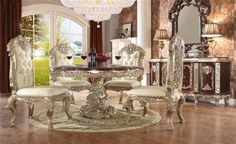Cleopatra Pedestal 7 Rectangle Dining Room Set By Homey Design Hd 8017 Dt Cleopatra Pedestal 7 Dining Room Set By