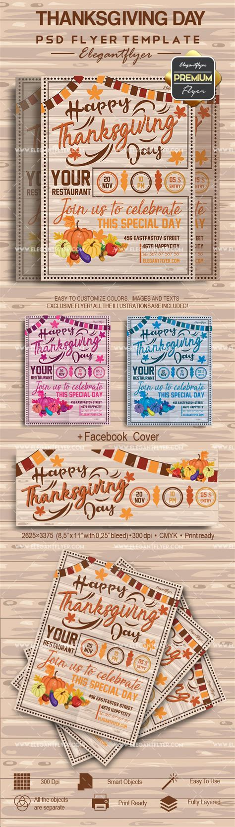thanksgiving card template psd flyer for happy thanksgiving day by elegantflyer