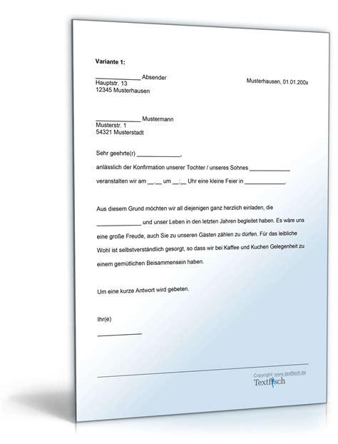 Brief Anfrage Sponsoring Einladung Zur Konfirmation Muster Zum