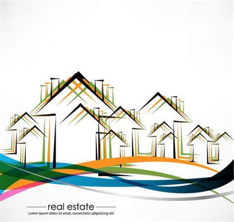 Real Estate Building Design Elements Vector 06 Vector Free House Architecture Design