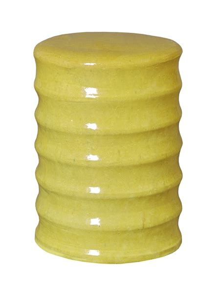 Greenish Yellow Stool by Yellow Green Glaze Ceramic Bamboo Garden Stool