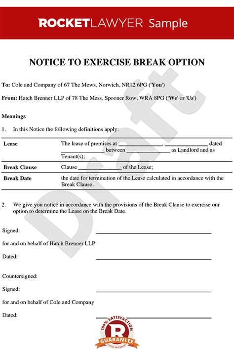 breaking lease agreement template notice to clause tenancy clause evict