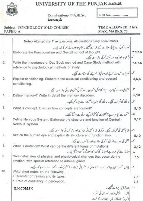 paper pattern of english b a punjab university punjab university ba psychology paper a b past papers 2013