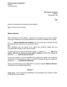 Exemple De Lettre Pour Depart Congé Maternité Modele Lettre Pour Un Depart En Retraite Document