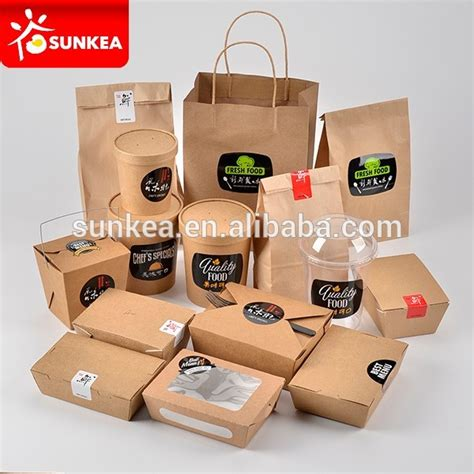 Take Away Box Bag From Os by Disposable Custom Printed Kraft Paper Fast Food Packaging