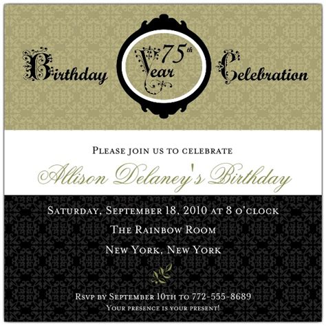 75th birthday invitation templates damask 75th birthday invitations paperstyle