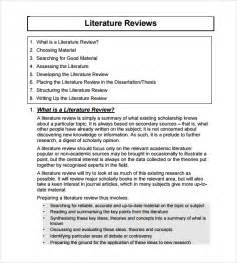 Template For Writing A Literature Review by Sle Literature Review Template 6 Documents In Pdf Word