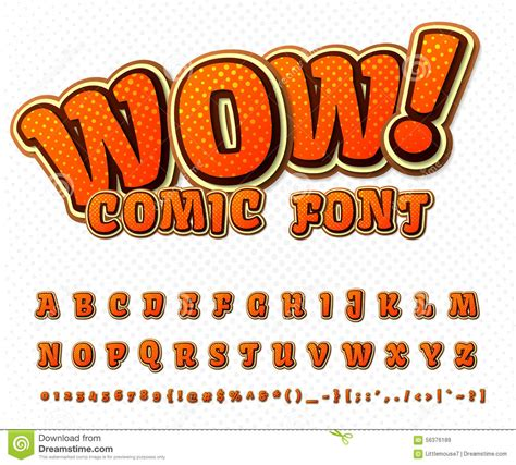 font cartoon creative comic font vector alphabet in style pop stock
