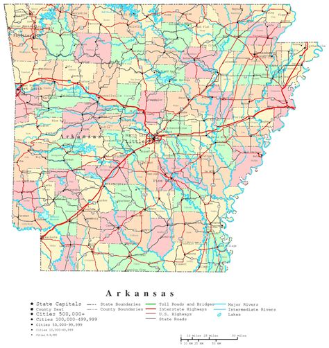 map of usa with arkansas large administrative and road map of arkansas state with