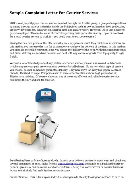 Complaint Letter For Poor Courier Service Sle Complaint Letter For Courier Services
