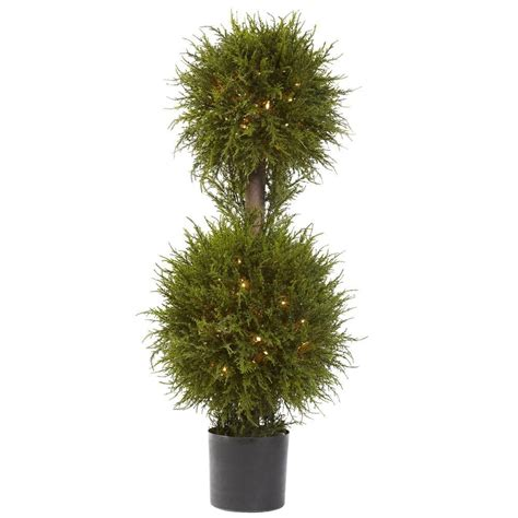 nearly natural 40 in cedar double ball topiary with