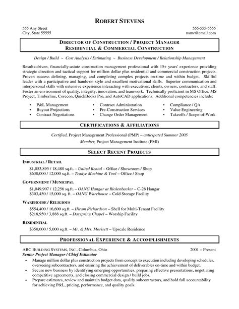 construction resume exles and sles superintendent resume sles 28 images resume for sales