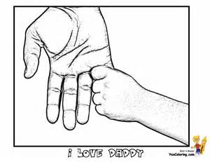 cool father day coloring hands of father and son tell