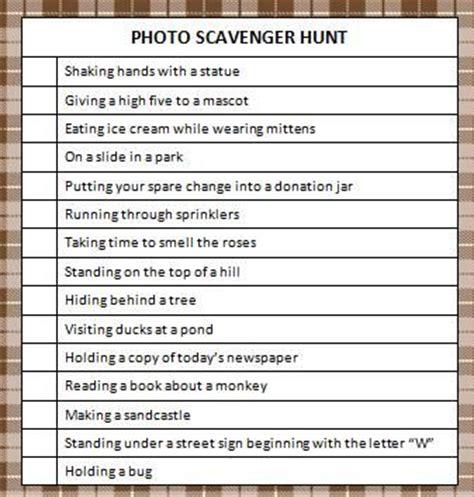 idea hunt photo scavenger hunt free printable summer photos hunt
