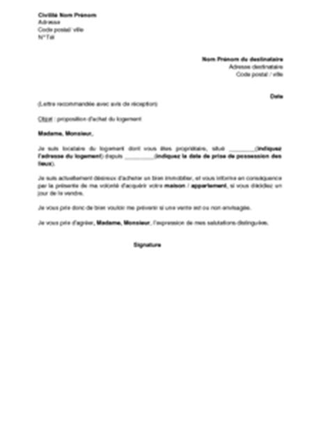 Modèle Lettre De Proposition D Achat Immobilier lettre de proposition d achat du logement par le locataire